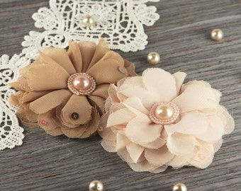 Prima Flowers Matriarch Collection: Lilith - 2pcs Sheer tan and cream Fabric Flowers with Pearl Center