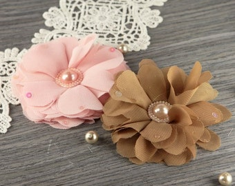 Matriarch Collection: Corbitta - 2 pcs Sheer Fabric Flowers with Pearl Center
