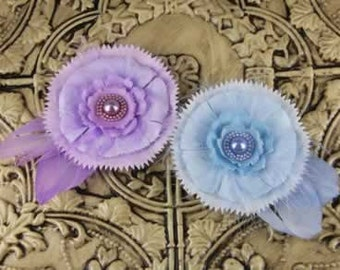 Magnolia Eileen Feather Fabric Flowers. Blue and Violet Feather Fabric Flowers.