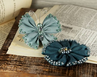 Elegance - Teal and Navy blue Fabric Flower and butterfly