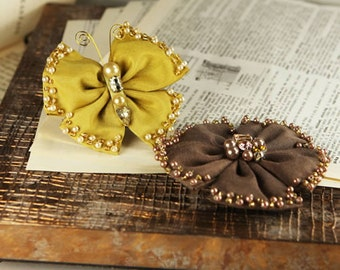 Elegance - Gold Nugget yellow mustard and chocolate brown Fabric Flower and butterfly