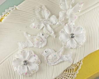 Prima Melody - White Glittered flowers butterflies birds