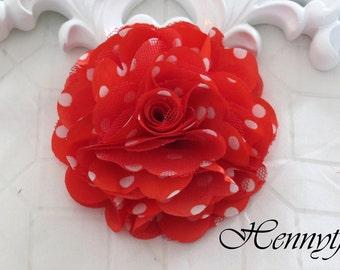2 pcs- 3'' Satin mesh silk flowers flat back wedding bridal bridesmaid brooch flowers - Red with white polka dots
