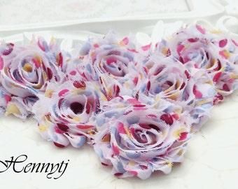 Set of 6 Shabby Frayed Vintage look Chiffon Rosette Flowers -  Fairytale Polka dots