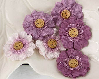 Prima Flowers: Primmer's Heather Lilac Purple fabric flowers with button center