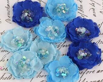 BRAND NEW - Tasha Jewel Sky Royal Blue Mini Fabric Flowers with sparkle sequins center