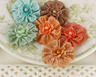 Prima Flowers: Manette Maple Small Fabric Flowers with Pearl Center. Cotton a eyelet ruffled fabric flowers.