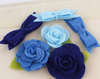 Marcelle Curtain Call Royal and light  Blue shade Felt blooms and bows fabric flowers with varying styles