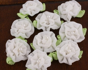 BRAND NEW - Trixie white Mini chiffon ruffle Fabric Flowers with pearl center