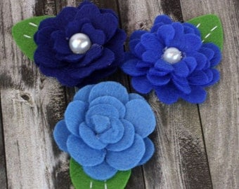 BRAND NEW: Hermosa - Blueberry Royal Blue shade Felt blooms fabric flowers with varying styles