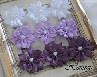 New to the Shop: Set of 9 Blissful Collections - Glimmery purple lavender Small satin Flowers with pearl center