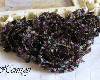 Set of 6 Shabby Frayed Vintage look Chiffon Rosette Flowers - Brown Patterned Victorian style