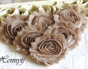 Set of 6 Shabby Frayed Vintage look Chiffon Rosette Flowers - Natural Beige Champagne