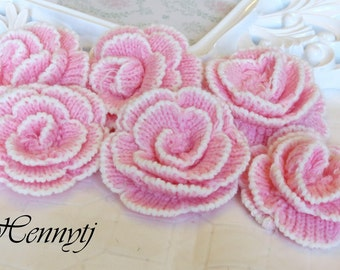 set of 6 Pink Crochet Applique Flowers 3 inch size