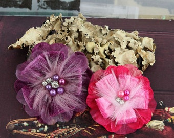 Prima Flowers: Cherise Collection - Paris Purple Plum Shocking Hot Pink Feather Fabric Flowers with beaded and jeweled centers