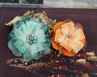 BRAND NEW : Cherise Collection - Taos Teal Green Orange Feather Fabric Flowers with beaded and jeweled centers