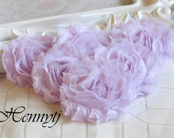 Set of 6 or 12 SCENTED Shabby Frayed Vintage look Chiffon Rosette Flowers - Soft Violet