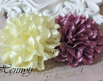 Maureen Collections - Set of 2  Bright Yellow and Magenta Satin Eyelet Fabric Rosette Puff Flower Applique Brooch headband