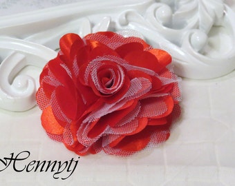 2 pcs- 3'' Satin mesh silk flowers flat back wedding bridal bridesmaid brooch flowers - Red with white tulle