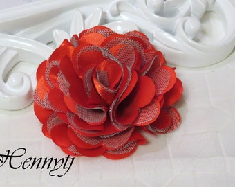 2 pcs- 3'' Satin mesh silk flowers flat back wedding bridal bridesmaid brooch flowers - Red with green tulle