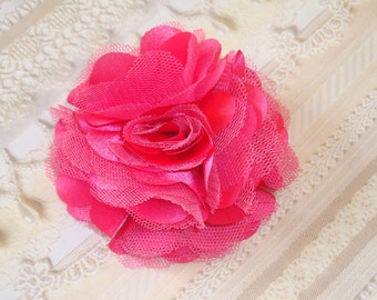 2 pcs- 3'' Satin mesh silk flowers without hair clip wedding bridal bridesmaid brooch flowers - Hot Pink