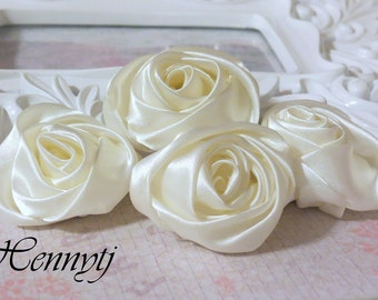 Set of 4 -  50mm Adorable Rolled Satin Rose Bud  Rosettes Fabric flowers - IVORY Champagne