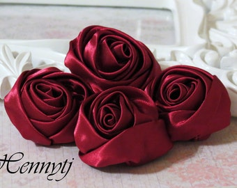 Set of 4 -  50mm Adorable Rolled Satin Rose Bud Rosettes Fabric flowers - WINE / BURGUNDY
