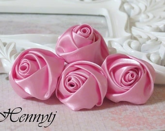 Set of 4 -  50mm Adorable Rolled Satin Rose Bud Rosettes Fabric flowers - PINK
