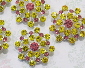 6 pcs - 28mm Winter SnowFlake Acrylic Color Rhinestone Buttons WITH Shank - wedding / hair / dress / garment accessories