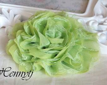 NEW COLOR : 1 pc Large Shabby Chic Frayed Chiffon Mesh and Lace Rose Fabric Flower - Celery GREEN