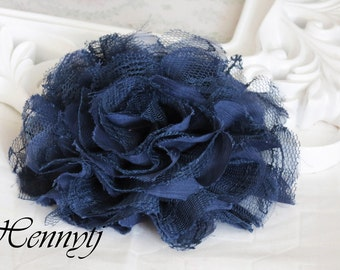 1 one piece Large Shabby Chic Frayed Chiffon Mesh and Lace Rose Fabric Flower - Dark NAVY BLUE