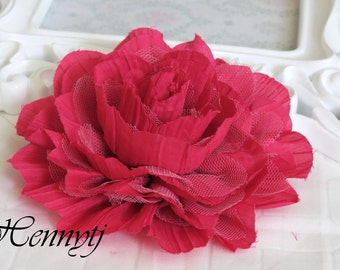 1 pc New Large Shabby Chic Frayed Wrinkled Cotton Voile and Tulle Rose Fabric Flower - HOT HOT Pink