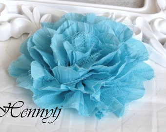 2 pcs  New Large Shabby Chic Frayed Wrinkled Cotton Voile and Tulle Rose Fabric Flower - SKY Blue / Aqua