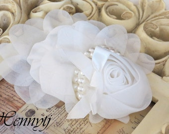 1 pc OFF WHITE Chiffon Rosette Fabric Flower With Pearl for headbands corsage shoes accessory  / Wedding Decorations, Bridal Sash / Garter