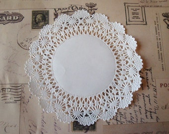 Pack of 100 sheets : 4 inch / 5 inch CAMBRIDGE Lace White Paper Doilies, Scrapbooking, Wrapping supplies, party favor,.