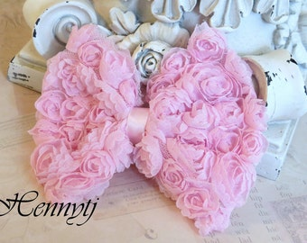 New to the Shop: 2 pcs Kylie Chiffon Rossette fabric BOW shabby Vintage look Appliques - BABY PINK