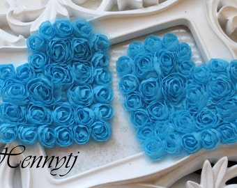 Set of 4 Beautiful Shabby Chic Chiffon Rosette Flower Heart Appliques -  Turquoise 4.5 inches