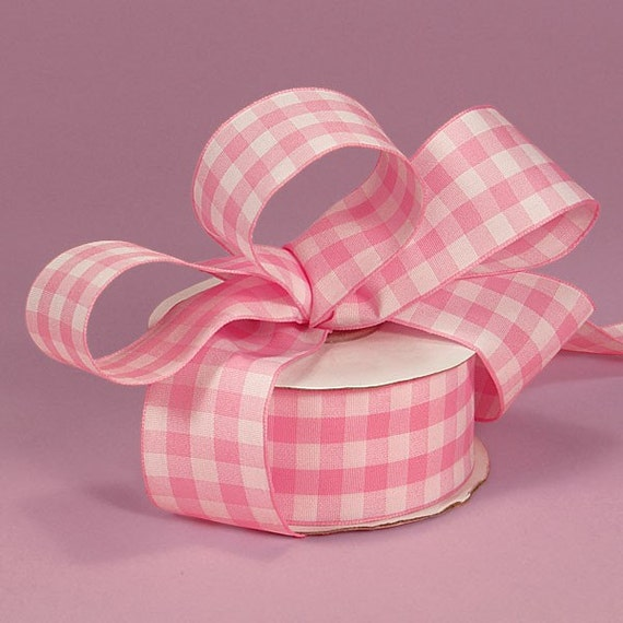 4 yards of Pink Gingham Ribbons 7/8 inch