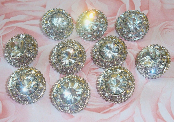 17mm Acrylic Rhinestone Buttons (10 pcs) - wedding / hair / dress / garment accessories