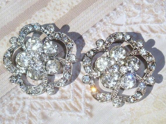31mm Acrylic Metal Rhinestone Buttons (4 pcs) with loop - wedding / hair / dress / garment accessories