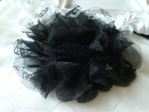 1 pc Large Shabby Chic Frayed Chiffon Mesh and Lace Rose Fabric Flower - Black
