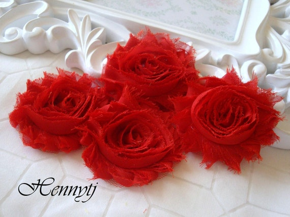 6 pcs Shabby Frayed Vintage look Chiffon Rosette Flowers - Red