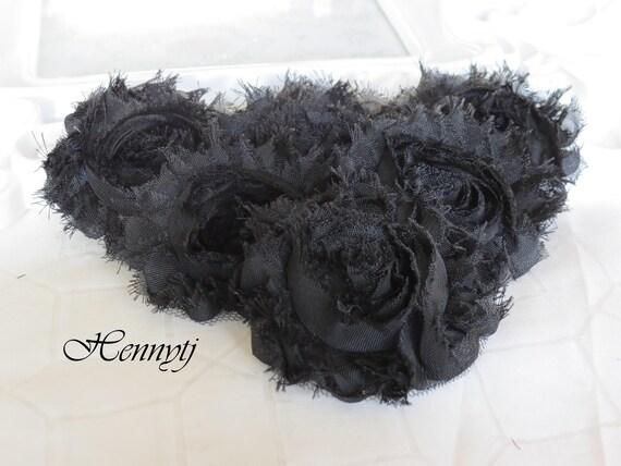 Set of 6 Shabby Frayed Vintage look Chiffon Rosette Flowers - Black