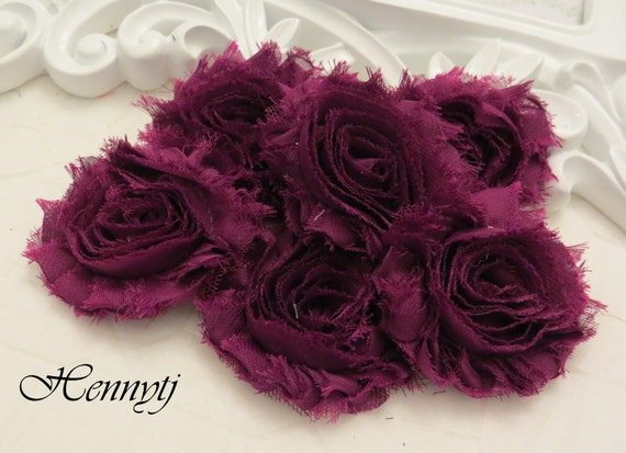 Set of 6 Shabby Frayed Vintage look Chiffon Rosette Flowers - Deep Fuchsia