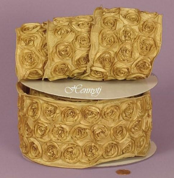 Dusty Yellow Rosette Wired Ribbons perfect for bridal wedding bridesmaid Bow headband skirt dress  album scrapbook