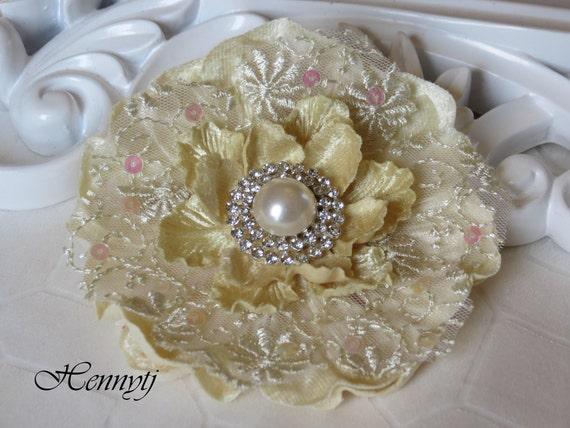 The Candice Glow Light Yellow Rhinestone Fabric Flower Pearl  Wedding Bridal Embellishment Favor Hair Accessory Applique Brooch headband