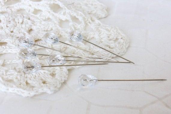 15 Vintage Crystals Trinket Corsage Pins - Scrapbooking Assemblage Embellishments