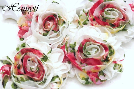 Set of 12 Shabby NOT Frayed Vintage look Chiffon Rosette Flowers - Vintage Rose Style