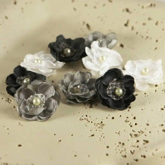 BRAND NEW: Bristo Blooms - Starry Night black grey white Mini Fabric Flowers