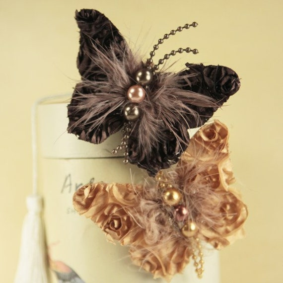 Butterfly Kiss Collection - Backstage Moulin brown tan fabric butterflies with feather